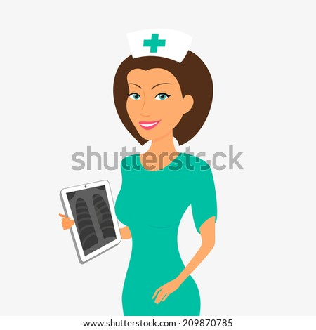 Smiling nurse with tablet pc - stock vector