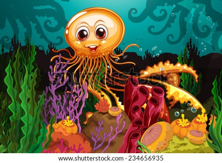 Smiling octopus in the middle of corals - stock vector
