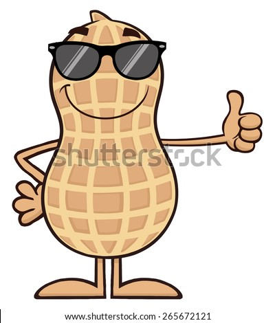 Smiling Peanut Cartoon Character With Sunglasses Giving A Thumb Up. Vector Illustration Isolated On White - stock vector