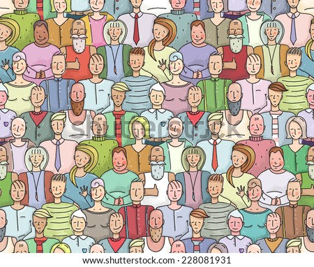 Smiling People Crowd Collective Portrait Seamless Pattern. Colorful men and women throng portrait. Vector illustration EPS8. - stock vector
