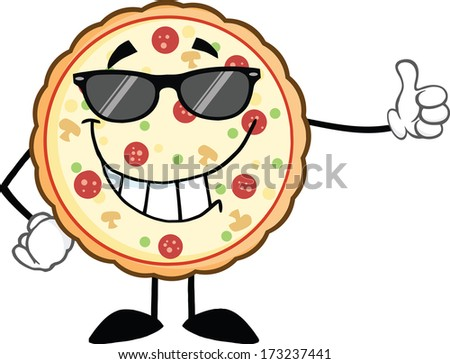 Smiling Pizza With Sunglasses Giving A Thumb Up. Vector Illustration Isolated on white - stock vector