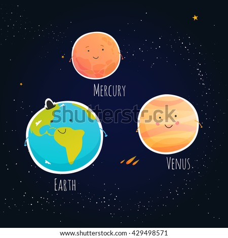 Cute Planet Saturn Mars Neptune Earth Stock Vector ...