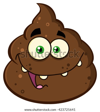 Smiling Poop Cartoon Mascot Character. Vector Illustration Isolated On White Background - stock vector
