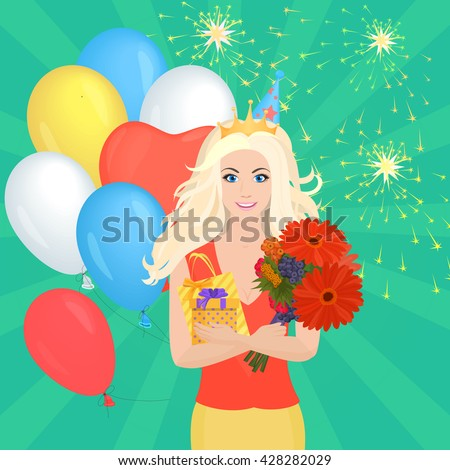 Smiling Pretty girl holding Gift Box and flowers. Birthday concept. Woman gifts image, Woman birthday gifts illustration, Woman birthday gifts greeting card, Woman birthday gifts concept, birthday day - stock vector