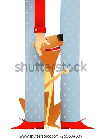 Smiling Red Dog Sitting Near Feet of Man. Dog and stroking hand colorful cartoon illustration. Vector EPS10. - stock vector