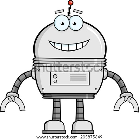 Smiling Robot Cartoon Character. Vector Illustration Isolated on white - stock vector