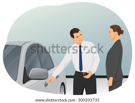 Smiling salesman is showing new car to a woman customer - stock vector
