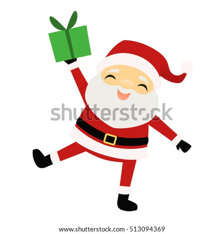 Smiling Santa Claus holding a present