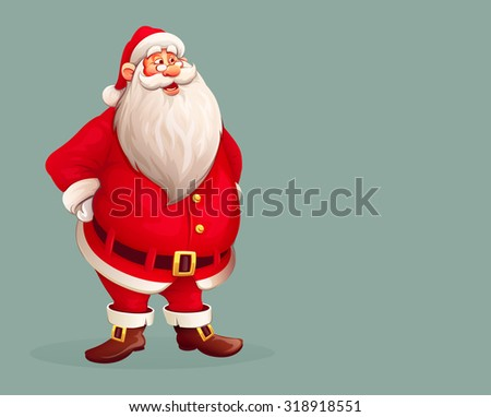 Smiling Santa Claus standing alone. Eps10 vector illustration - stock vector