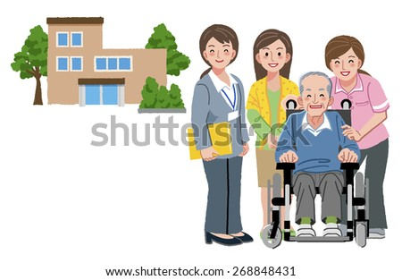 Smiling senior man with caregivers, his daughter, and nursing home in the background. - stock vector