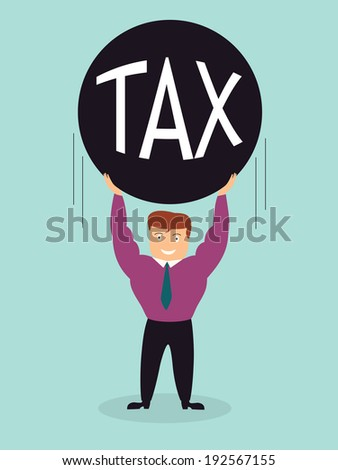 smiling smart business man lift tax iron ball over the head,did not afraid tax,illustration,vector - stock vector