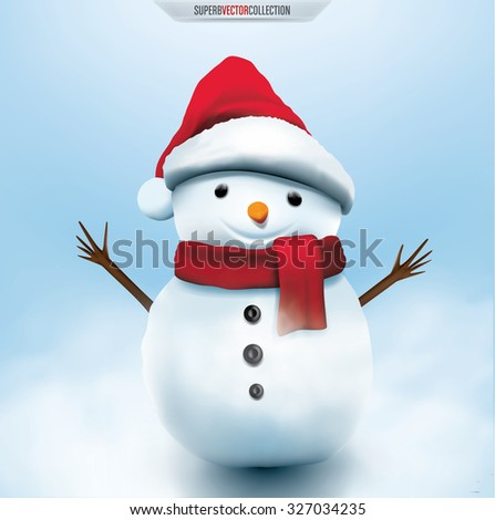 Smiling snowman, High detailed vector illustration - stock vector