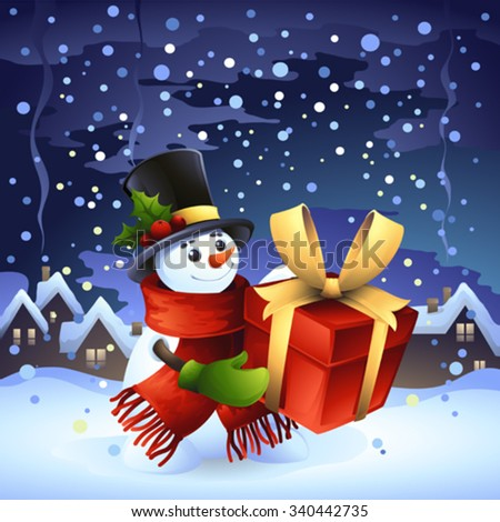 smiling snowman with gift,merry christmas greeting card with snowman,wintertime background - stock vector
