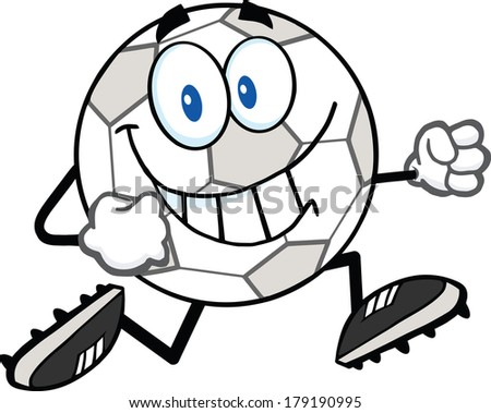 Smiling Soccer Ball Cartoon Character Running. Vector Illustration Isolated on white - stock vector