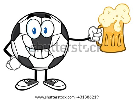 Smiling Soccer Ball Cartoon Mascot Character Holding A Beer Glass. Vector Illustration Isolated On White Background - stock vector