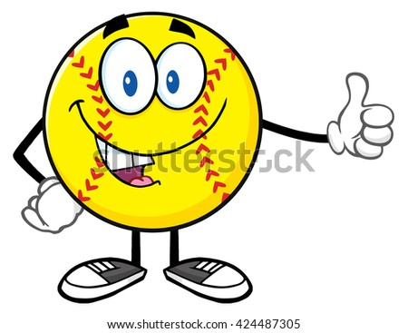 Smiling Softball Cartoon Mascot Character Giving A Thumb Up. Vector Illustration Isolated On White Background - stock vector