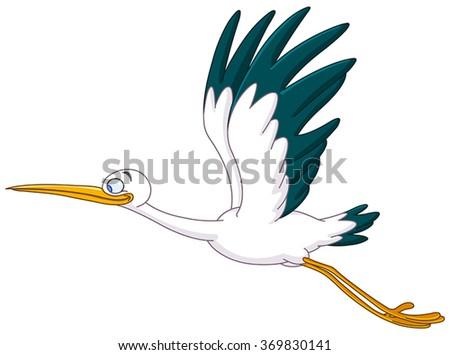 Smiling Stork flying - stock vector