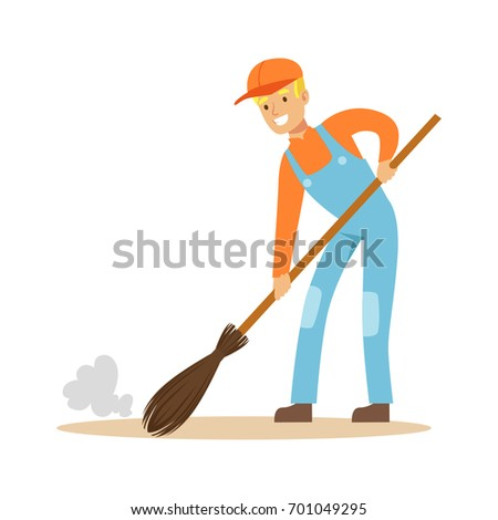 Smiling street sweeper at work, street cleaner character vector Illustration