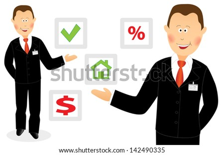 Smiling success cartoon businessman offers right choice - stock vector