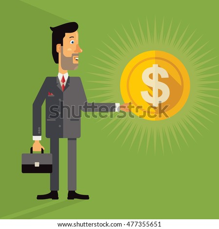 Smiling successful business man holding a coin with a dollar sign. Vector illustration in flat design style on green background.
