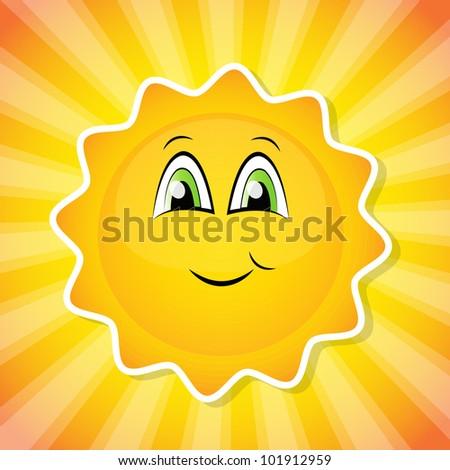 Smiling sun - stock vector