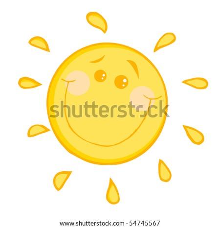 Smiling Sun Cartoon Character - stock vector