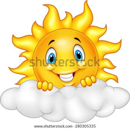 Smiling Sun Cartoon Mascot Character - stock vector