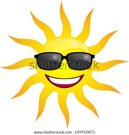 Smiling Sun in sunglasses. Vector illustration - stock vector