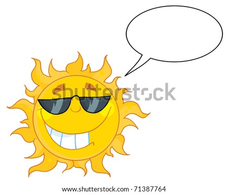 Smiling Sun Mascot Cartoon Character With Sunglasses And Speech Bubble - stock vector