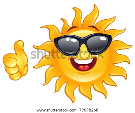Smiling sun showing thumb up - stock vector