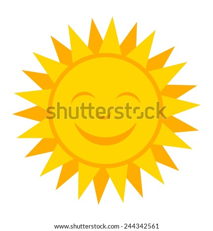 Smiling sun. Vector illustration - stock vector