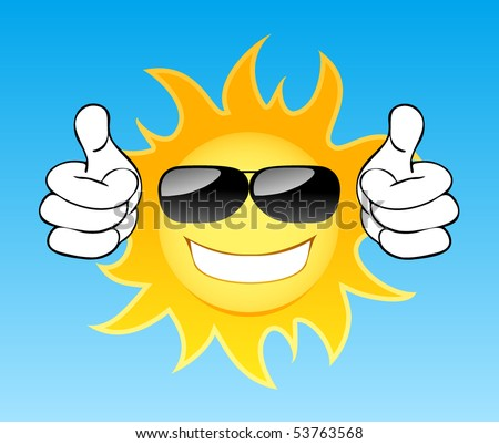 Smiling sun with glasses in the sky. Vector illustration - stock vector