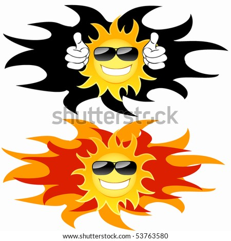 Smiling sun with glasses: tatoo. Vector illustration - stock vector