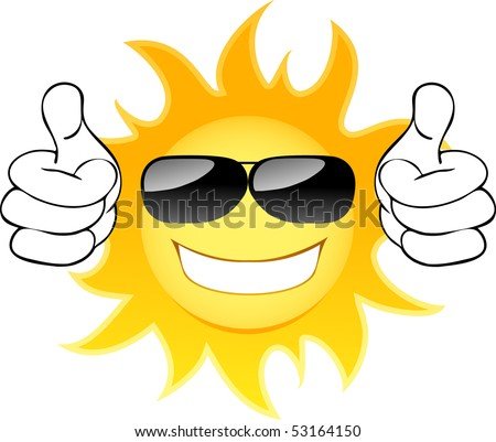 Smiling sun with glasses. Vector illustration - stock vector