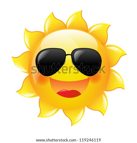 Smiling Sun With Gradient Mesh, Vector Illustration - stock vector