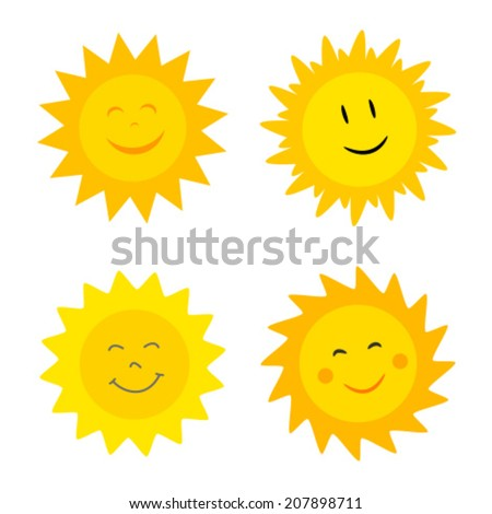 Smiling suns collection. Vector illustration - stock vector
