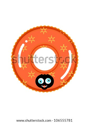Smiling swimming ring - stock vector