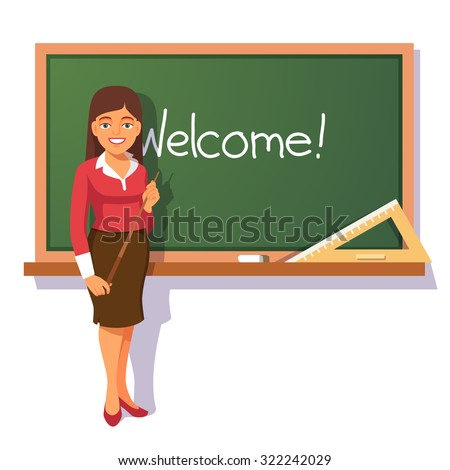 Smiling teacher with wooden pointer standing in front of green chalkboard and welcoming students. Flat style vector illustration isolated on white background. - stock vector