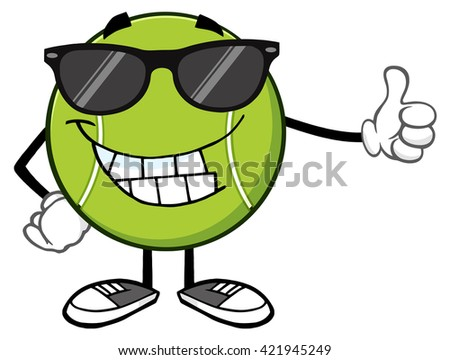 Smiling Tennis Ball Cartoon Mascot Character With Sunglasses Giving A Thumb Up. Vector Illustration Isolated On White - stock vector