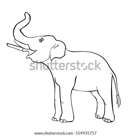 Smiling Elephant Sideways Trunk Coloring Vector Stock