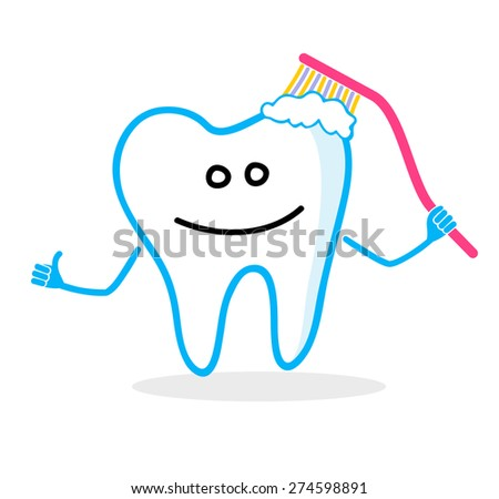 Smiling tooth with toothbrush. Dental hygiene illustration - stock vector