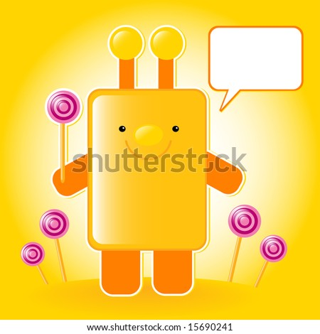 smiling toy keeping a pink candy in a hand, vector illustration