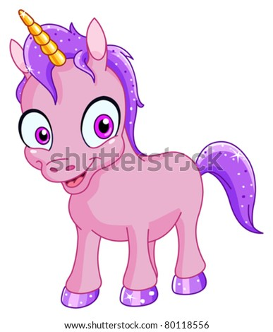 Smiling unicorn - stock vector