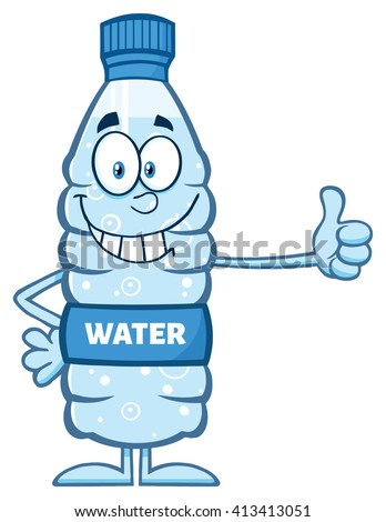 Smiling Water Plastic Bottle Cartoon Mascot Character Giving A Thumb Up. Vector Illustration Isolated On White - stock vector