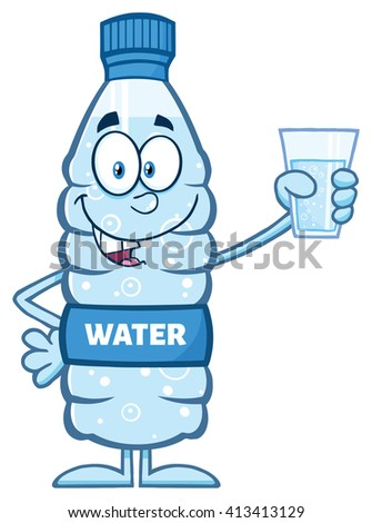 Smiling Water Plastic Bottle Cartoon Mascot Character Holding A Water Glass. Vector Illustration Isolated On White - stock vector