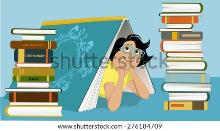 Smiling woman in glasses peeking from under a giant book, piles of different books beside her, vector illustration, no transparencies, EPS 8 - stock vector