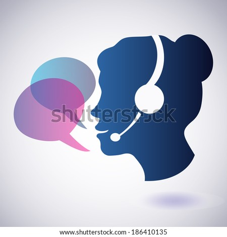 smiling woman with headphones and speech bubbles, call center concept - stock vector
