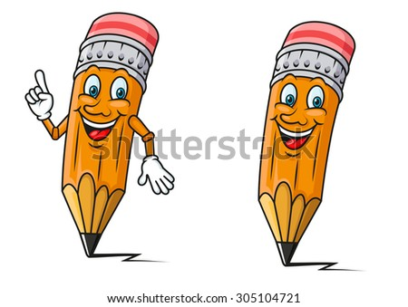 Smiling yellow pencils cartoon characters with red erasers and pointing gesture, for education or back to school concept design - stock vector
