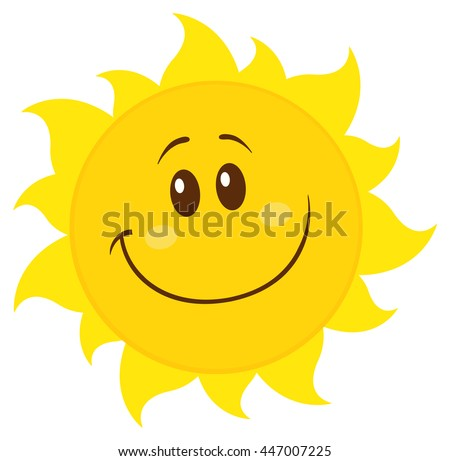 Smiling Yellow Simple Sun Cartoon Mascot Character. Vector Illustration Isolated On White Background