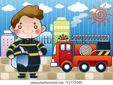 Smiling Young Fireman and Fires in a high-rise building on blue sky background - stock vector